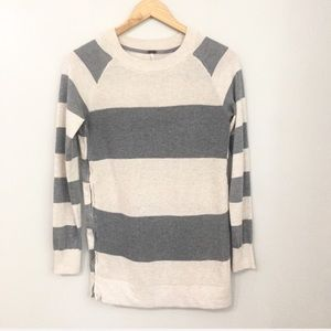 POOF!  Gray & Cream Striped Rugby Sweater Small